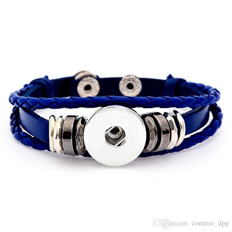 Nuovo arrivo Noosa bottoni a pressione braccialetto 18 millimetri Licantropia fascino multi-strato intrecciato avvolgere bracciali womenmen gioielli di moda