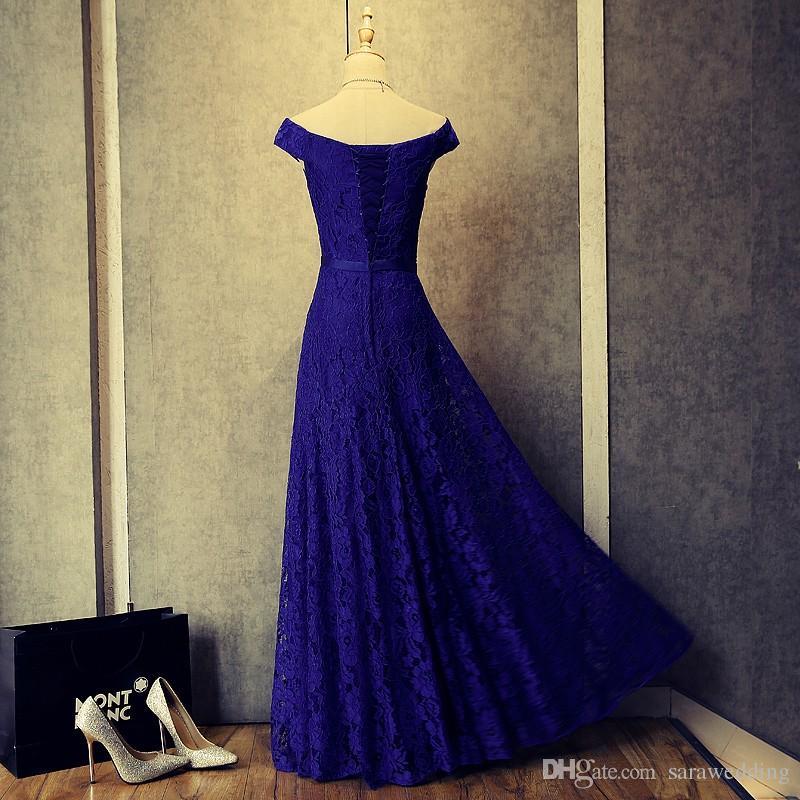 Royal Blue Lace Abendkleider New Applizierte Lange Abendkleider Kurzen Ärmeln Prom Kleider Lace Up