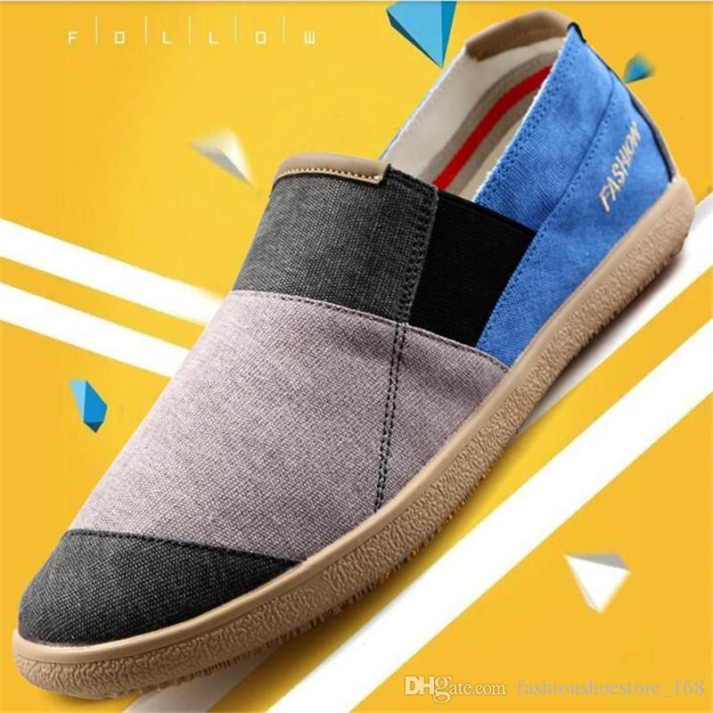 d973d7f58f8e Size Eu39 44 Summer Men Classic Canvas Shoes Man Spell Color Breathable  Casual Shoes Outdoor Lightweight Slip On Flat Shoes Mens Loafers Buy Shoes  Online ...