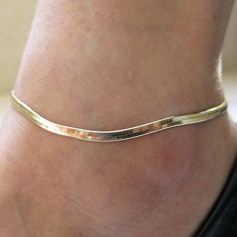 Yeni Güzel Gümüş / Altın Kaplama Ayarlanabilir Düz Yılan Zinciri Halhal bilezik Kadınlar Basit Narin Ayak Zinciri Yaz Plaj Ayaklar Takı