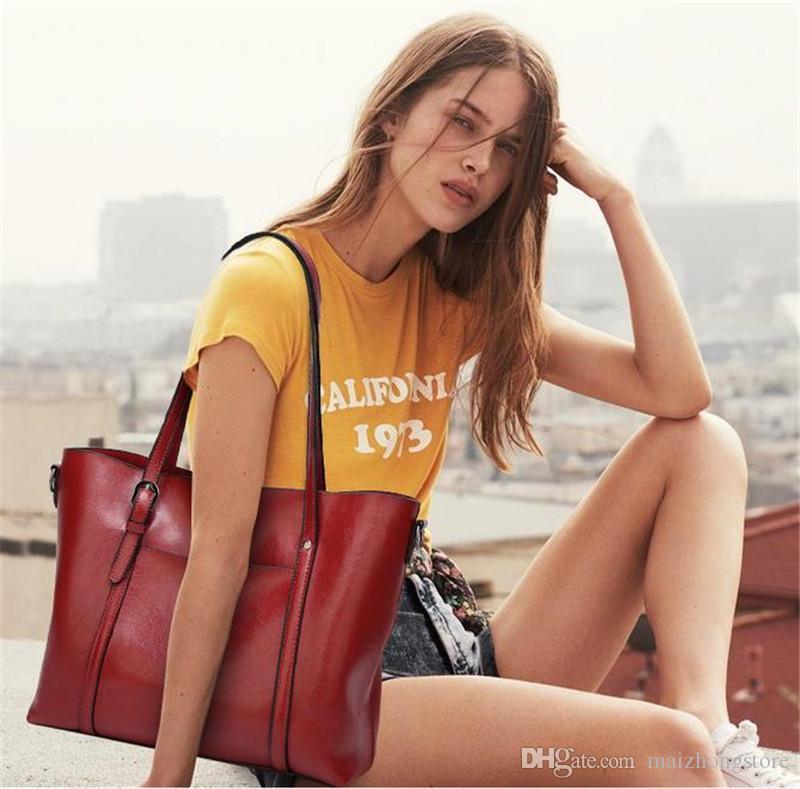 2017 neue Damen Echtes Leder Handtasche und vintage briefträger handtasche schultertasche Eimer tasche Kostenloser versand