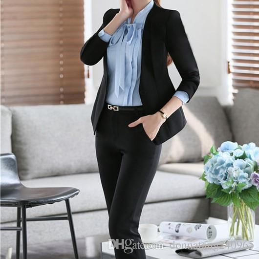 7d18b8666501bc 4XL Plus Größe Benutzerdefinierte Frauen Slim Fit Hose Anzüge Formale  Schwarz Büro Tragen Dame Eine Taste Arbeit / Business Karriere Lange  Hosenanzug