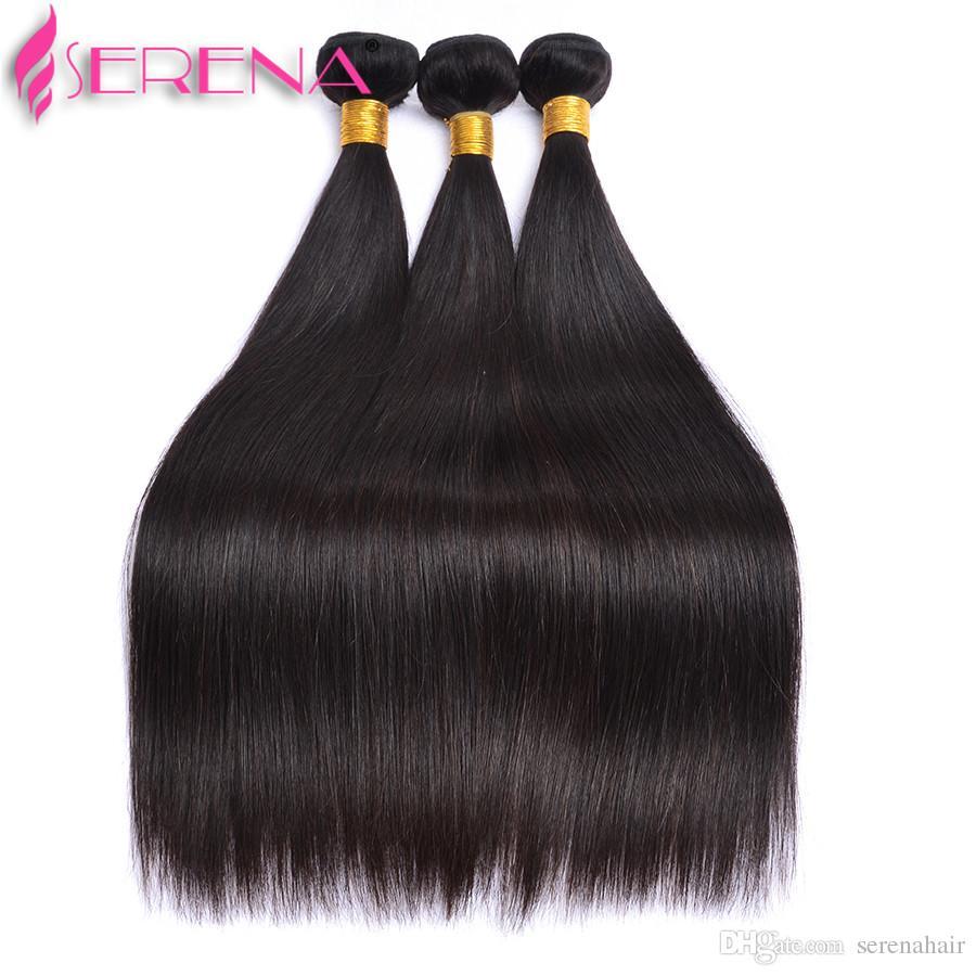 Перуанский Шелк Прямо С Закрытием Шнурка Свободно Середина Или 3 Путя Разделяют 100% Unprocessed Бразильский Перуанский Прямой Виргинский Weave Человеческих Волос