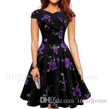 Цветочные печатные платья старинные розы платье женщины цветок платья Леди Лето элегантное платье с коротким рукавом повседневные платья Женская одежда H292