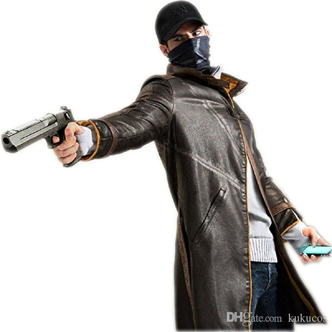Kukucos Watch Dogs Leather Jacket Cosplay Costume Trench Coat Aiden Pearce  Jacket Winter Warm Outwear Group Costumes For Girls Halloween Costumes For  Groups ...
