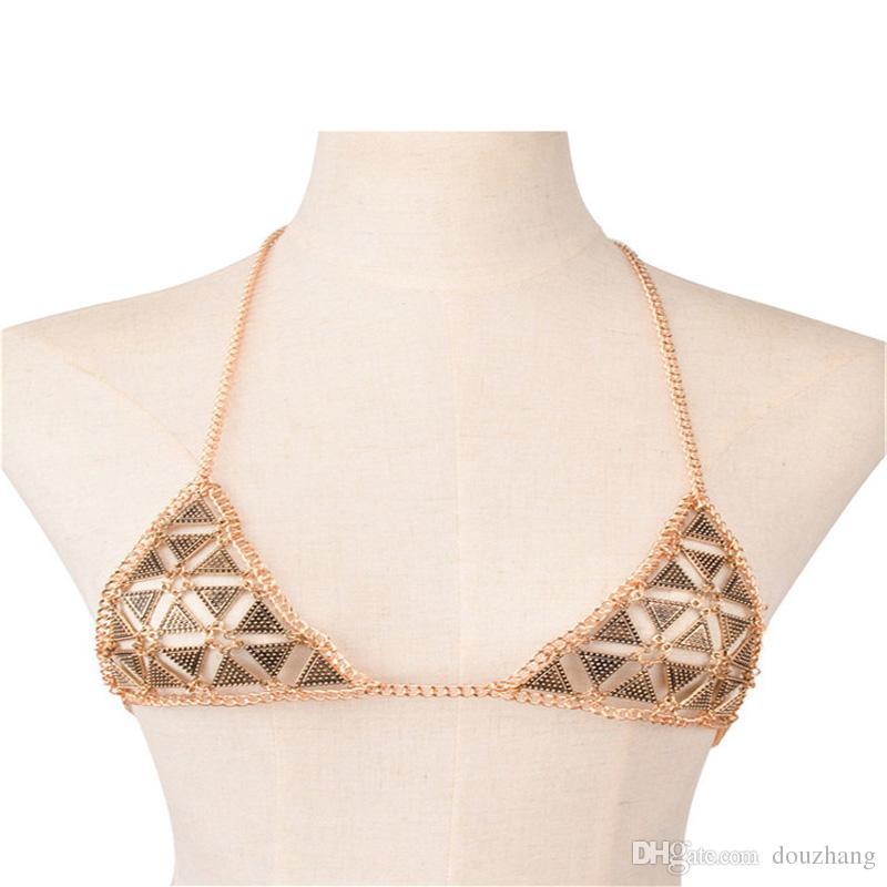 Donne sexy del metallo catena del corpo Bikini Bra Net Triangolo Slave Harness V Collana vita pancia catena gioielli regalo Lotto