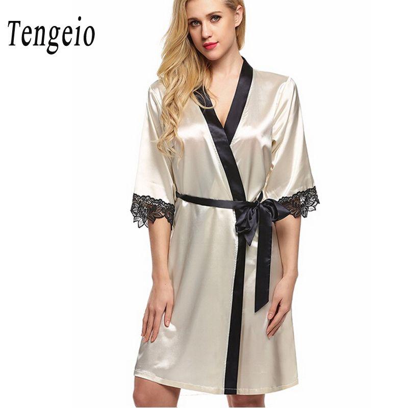 8279ca1e6d 2019 Wholesale Tengeio Women Nightdress Sexy Sleepwear Nightwear Lace Mini  Bridesmaid Robes Satin Nightgown Night Dress Chemise De Nuit Nuisett From  ...