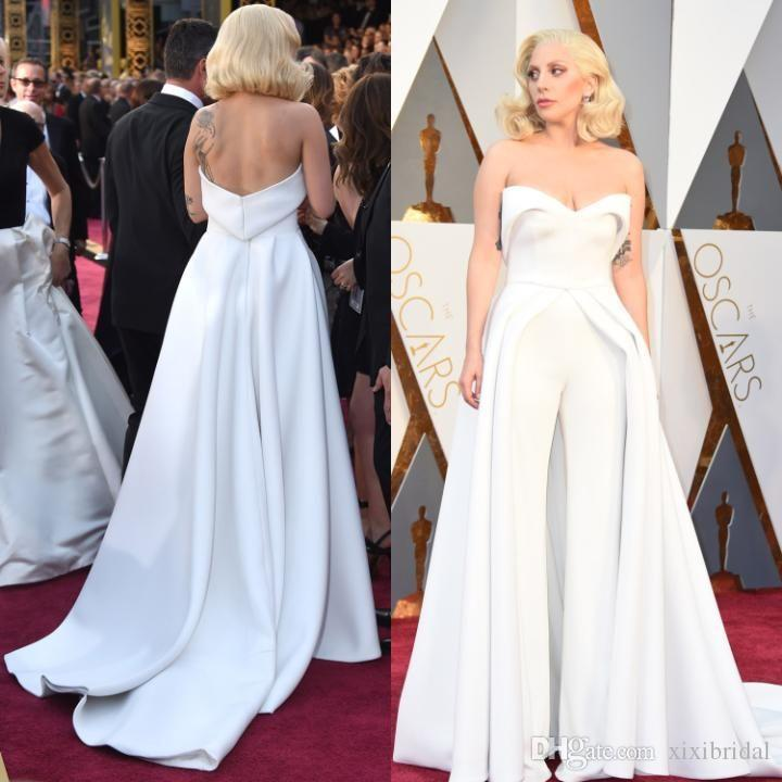 Unique 88th Oscar Lady Gaga Red Carpet Dresses 2017 White Pants Jumpsuit Outfits Stain Evening Celebrity Gowns