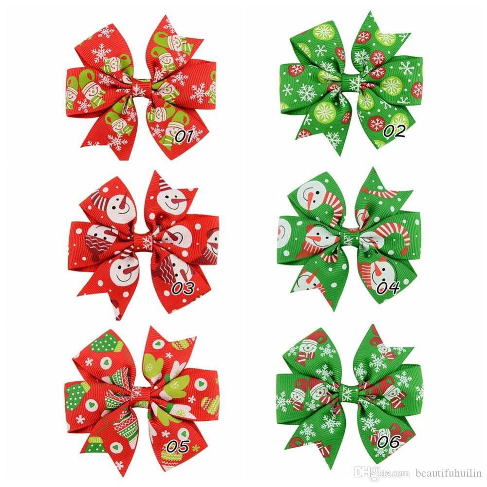 Girl 3 Inch Christmas Ribbon Bows Hairpin Snowman Snowflake Gloves Pattern Pinwheel Hair Clips Beautiful HuiLin C59