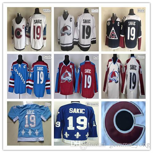 2019 100% Polyester Mens Ice Hockey Jerseys  19 Joe Sakic Colorado Team Red  Camo White Third Blue Stitching Hockey Uniform Cheap From Gemma yong abf9015ac