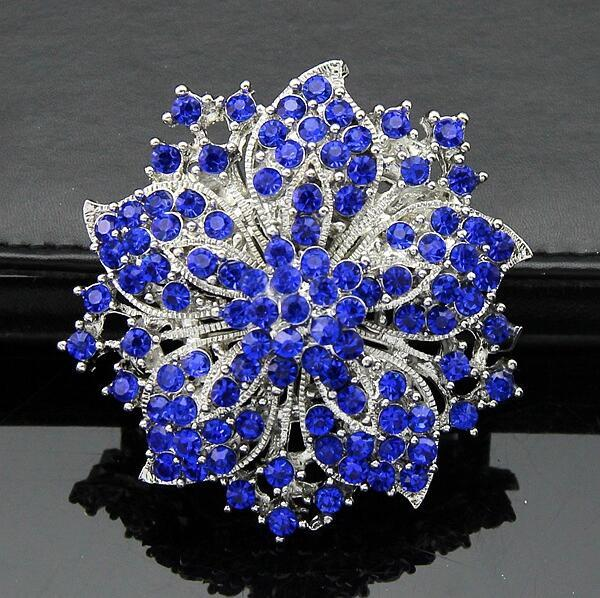 Luxury Full Rehinestone Brooches Crystal Redbud Bauhinia Flower Brooch Pins Bride Corsage Bouquet Pin for Men Women Wedding Party Jewelry