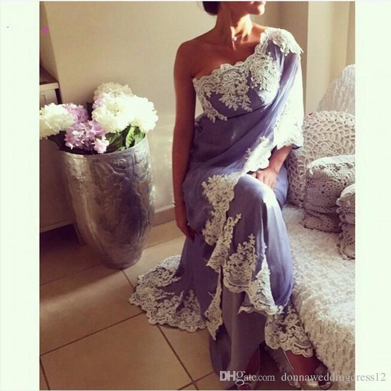 vestido de Noiva 2017 Saree Abiye 2018 Hint şifon Aplike Abendkleider Bir Omuz Prom Parti Abiye Yeni Geliş