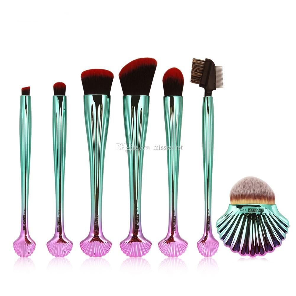 13ee8071febf0 7pcs Shell Makeup Brushes Set Foundation Brush Tool Kits Blusher Face Power  Make Up Brushes Set Blush Power Contour Eye Shadow Eyeliner Kit