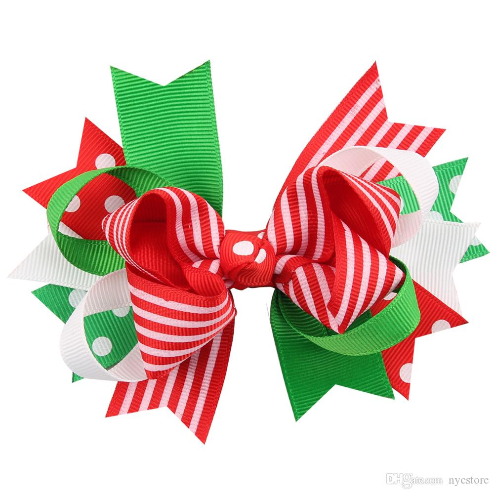 Hot christmas hair bows clips accessories for children girls fashion kids babys cute flower Bowknot Hairpin hairclip hairbow for xmas party