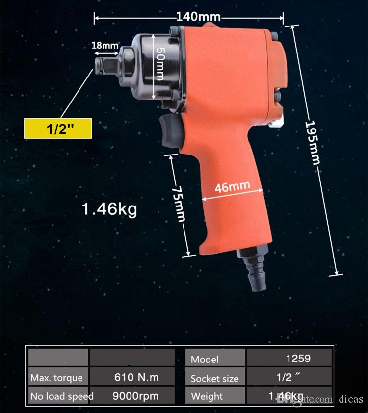 Livraison gratuite petite clé pneumatique 60 kg mouvement d'importation mini double marteau pistolet à vent 1/2 pouce clé à air inverse trois qualité poids léger