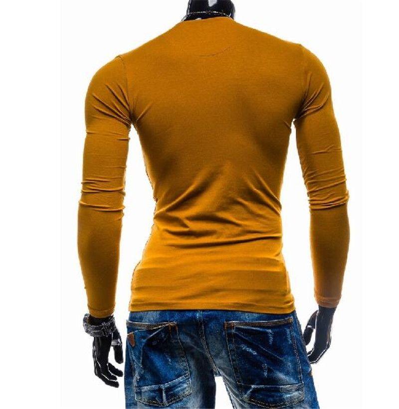 Новые Мужчины Сжатия Топ Хенли Шеи С Длинным Рукавом Повседневная Прохладный Мужской Tee Футболки Мода Человек Tee Блузка