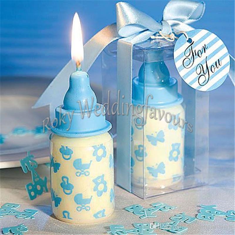 Livraison Gratuite 50 PCS Mignon Biberon Bougie Faveurs pour Baby Shower Gradulation Party Cadeaux Enfants Party Favors