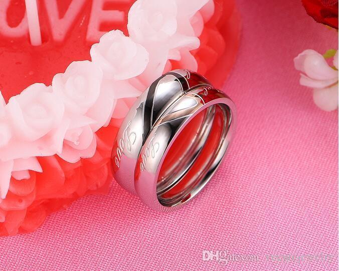 18K الذهب الأبيض مطلي الفولاذ المقاوم للصدأ الحب القلب زوجين خاتم مجوهرات العشاق الحجم 4-15