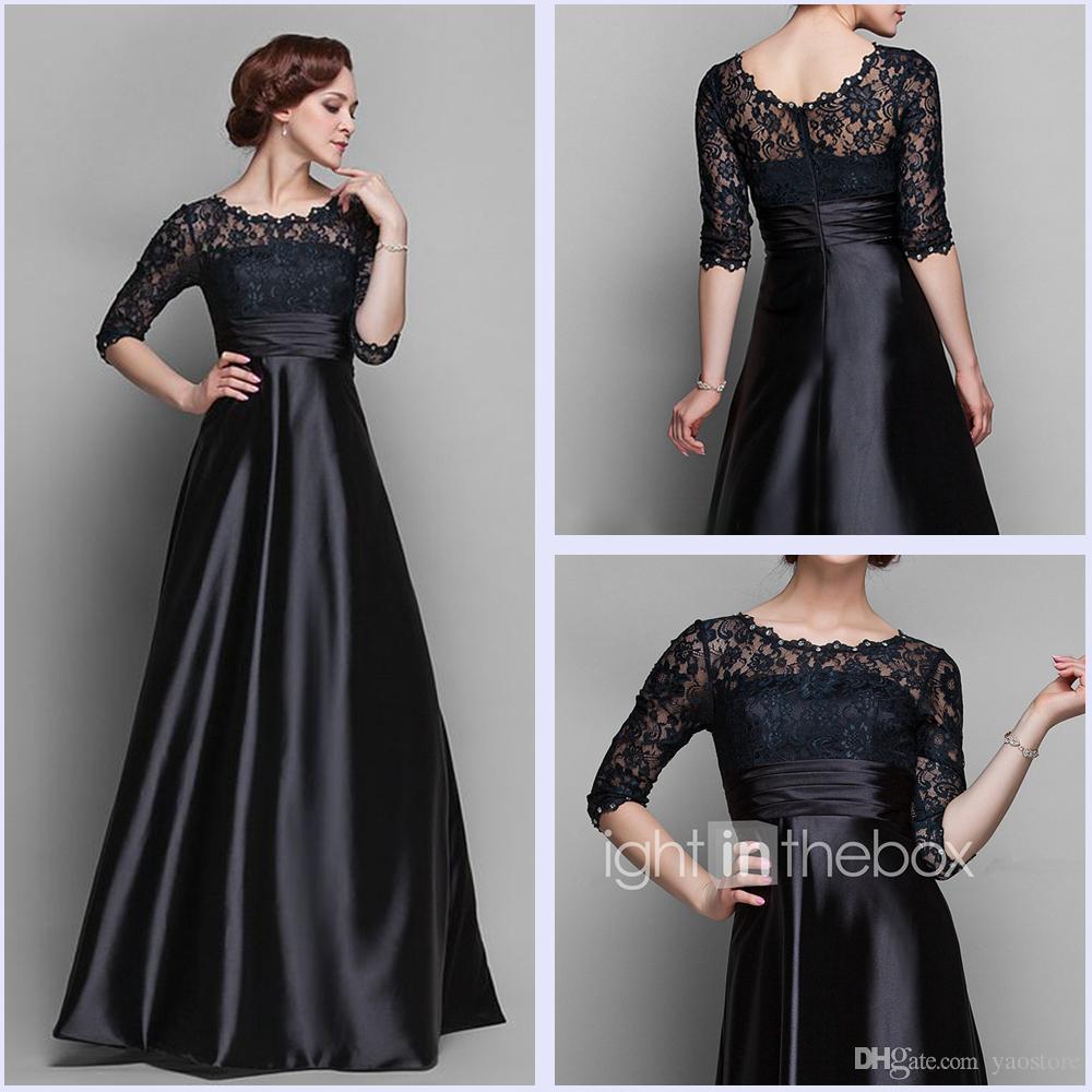 Elegant Grace Lace Black Mother Of Bride Dresses Crystal Half ...