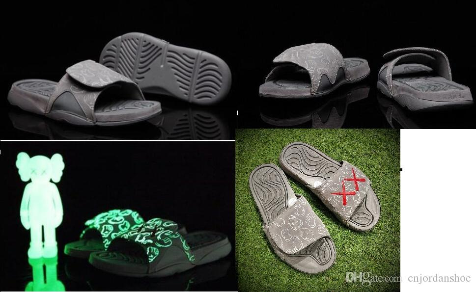 a54e28b57 Hot 2017 Summer KAWS X Airs Cool Grey XX Retro 4 Night Light Suede Slippers  Hydro IV 4s Sandals Mens Sports Casual Slides Slipper US 7 12 Wide Calf  Boots ...