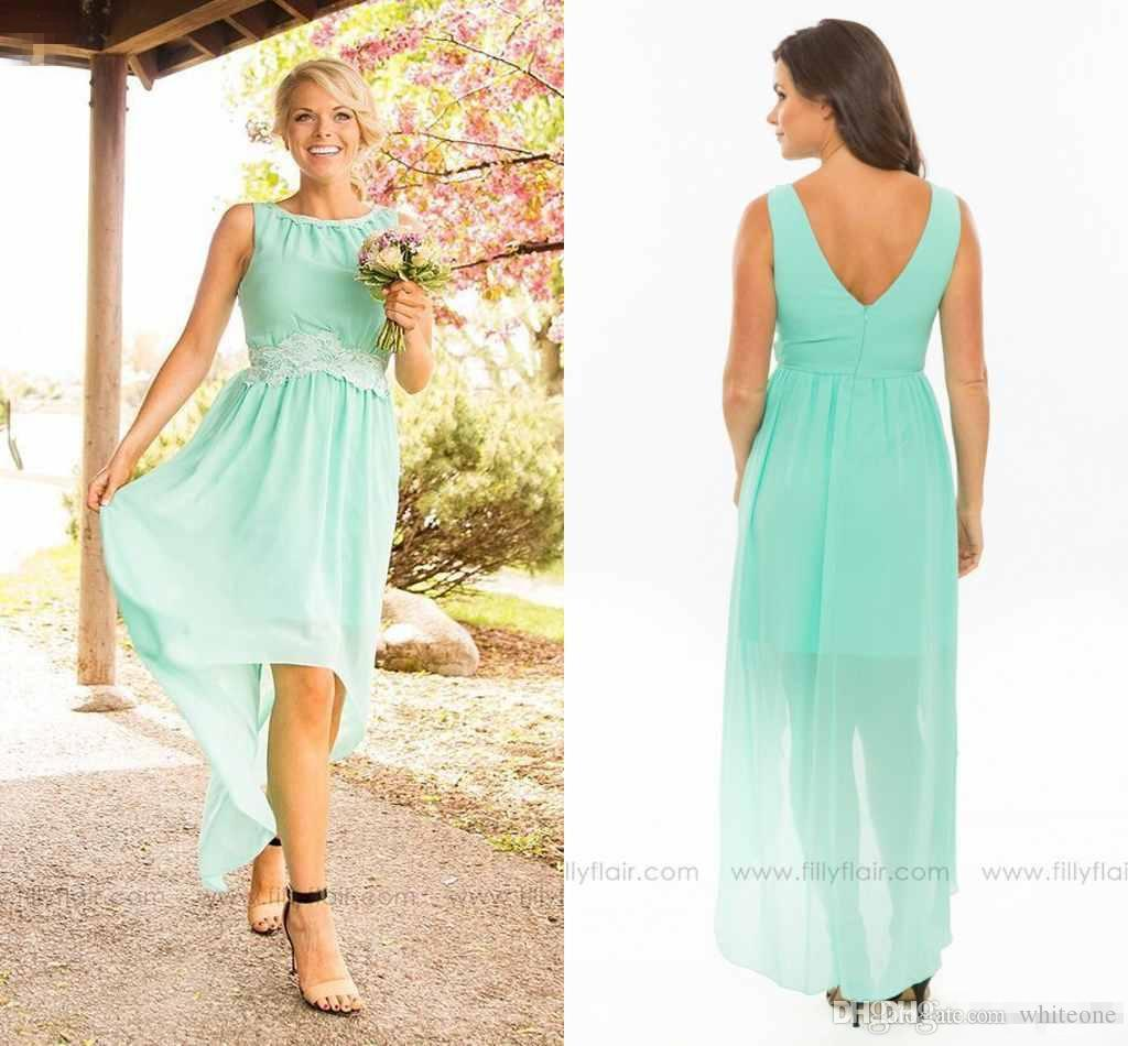 2016 simple modest mint green bridesmaid dresses high low v back 10 ombrellifo Choice Image