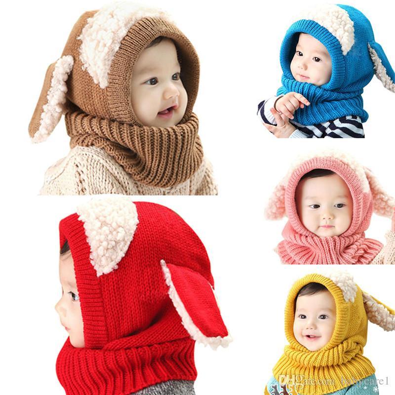 Winter Baby Hut 2017 Hüte Für Mädchen Kinder Kinder Kaninchen Lange Ohr Kappe Weiche Häkelarbeit Baby Caps Mit Kapuze Hut Schal Set Motorhaube