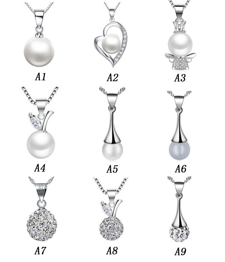 Long Pearl Pendants 925 Sterling Silver Necklaces Luxury Pearl Fashion Women Necklace Pendant Crystal Ball Ladies Jewelry