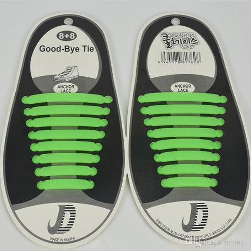 Мода унисекс шнурки эластичные силиконовые галстуки обуви 8 цветов ленивый шнурки подходит плоский удобные шнурки DHL Бесплатная доставка