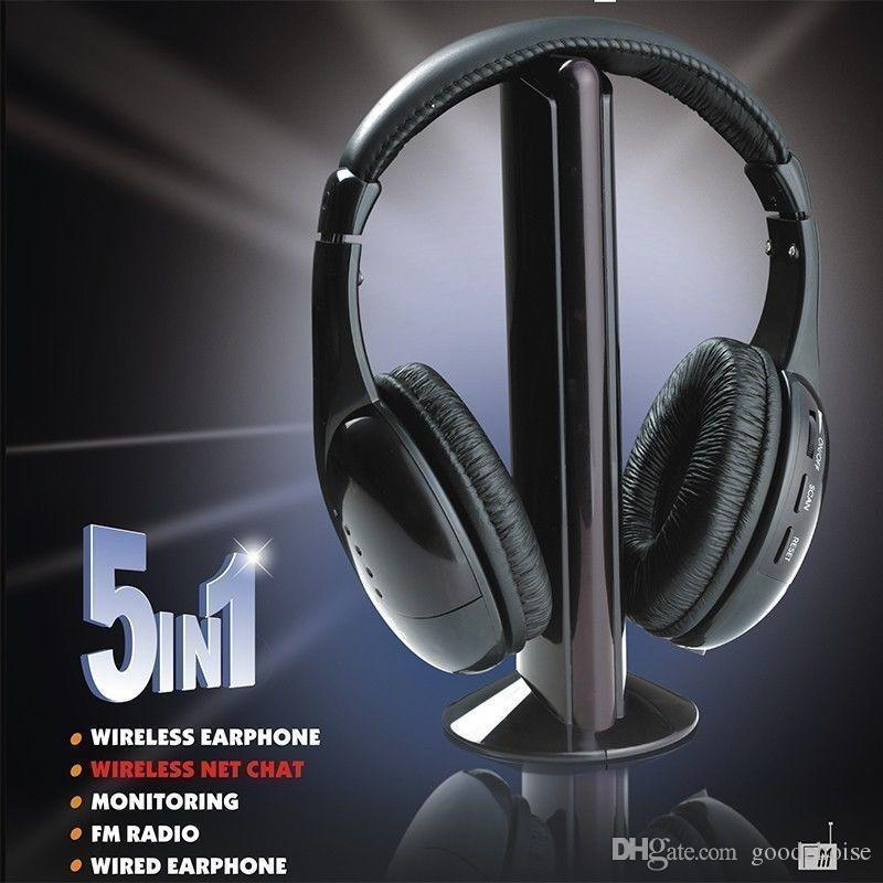 Acquista 5 In 1 HiFi Wireless Headphone Auricolare Cuffie FM Radio ... 032a32852150