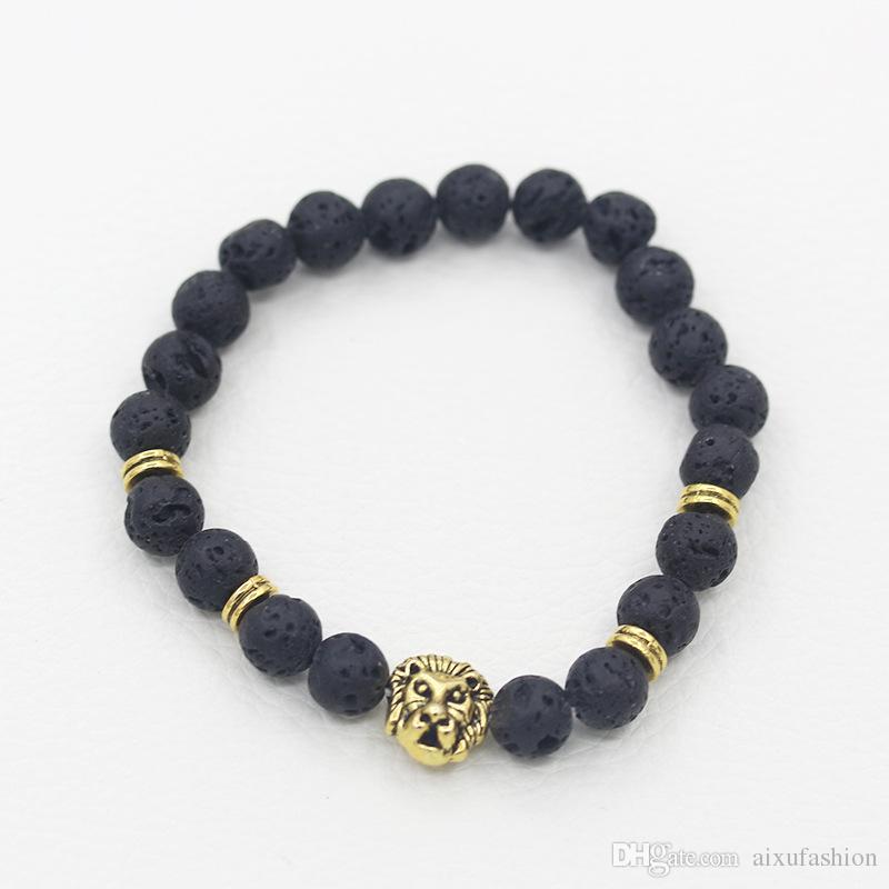 Натуральный камень мужчины браслеты лавы золото серебряный Леопард Лев голову бисером браслет для годовщины подарок браслет ювелирных изделий
