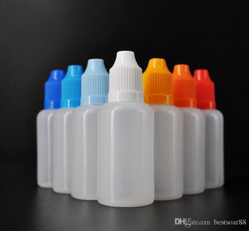 Best Seller E Çiğ Sıvı Şişeler 30 ml Ldpe Boş Damlalık Plastik Çocuk geçirmez Şişe Kapakları Üzerinde Uzun Ince Iğne İpuçları Promosyon