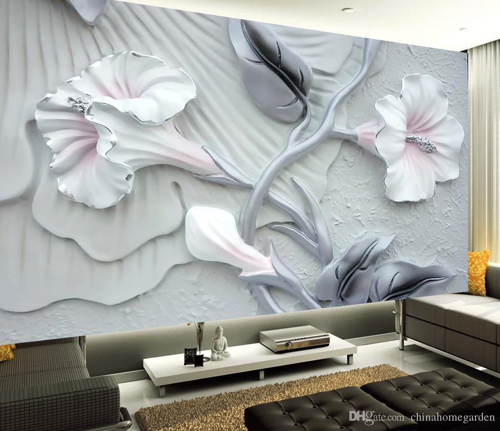 Embossed Stereo Warm Romantic Floral Murals Tv Wall Mural 3d