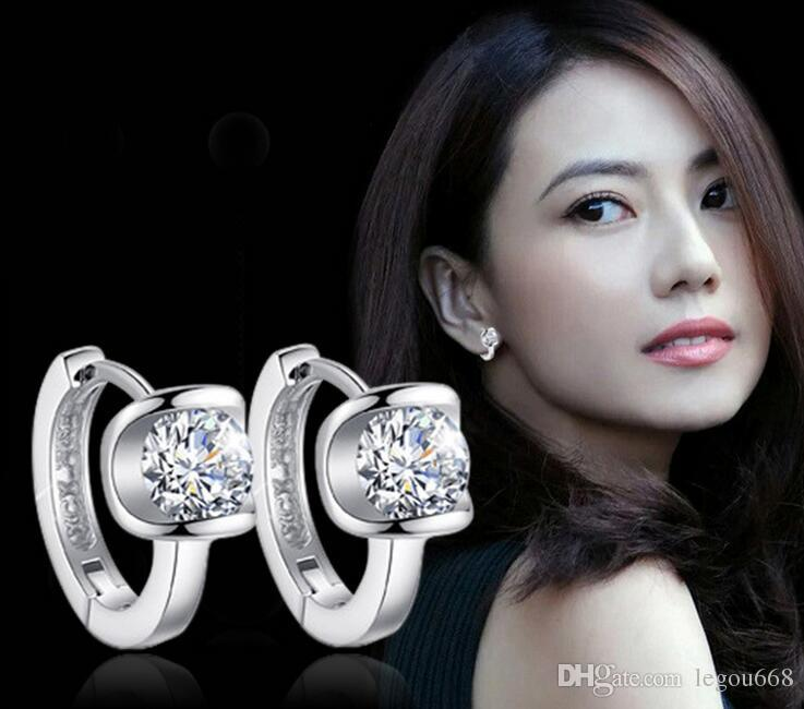 2017 High Quality Fashion Jewelry silver plated Earring For Women Angel Kiss Crystal Jewelry Stud Earrings Best Friends Gift G523