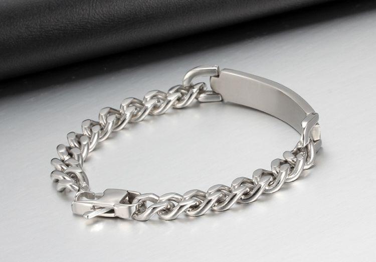 Bracciale semplice da uomo in acciaio inossidabile con bracciali a maglie a braccialetti con polsini alti i regali