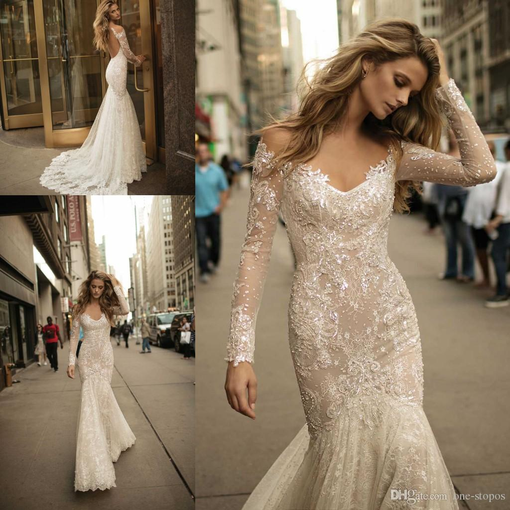 Berta Long Sleeves Mermaid Wedding Dresses 2017 Newest Sexy V Neck