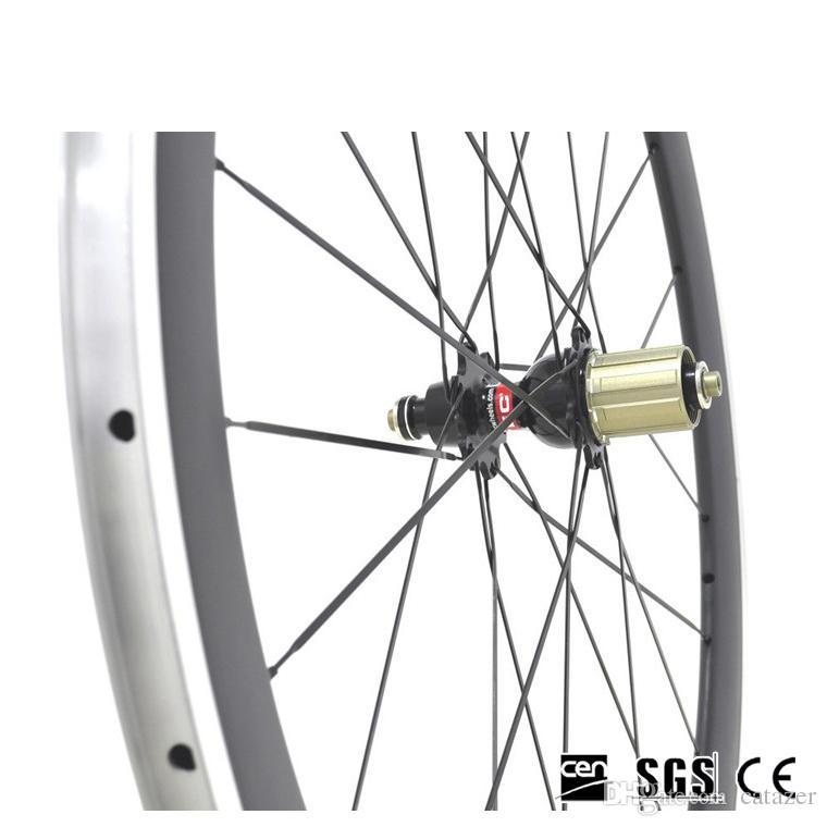 Liga de Alumínio Superfície do Freio Ciclismo Roda 700C 38mm 3 K Polido Clincher Estrada Rodas de Bicicleta Com Novatec 271 Hubs 20/24 Furos