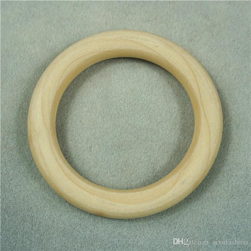 100 قطعة / الوحدة اللون الطبيعي الخشب التسنين الخرز حلقة خشبية الخرز الطفل عضاضة diy مجوهرات الاطفال إرم الألعاب 15-50 ملليمتر