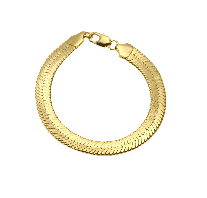 1CM solid Copper snake chains bracelets mens Fashion Gold Filled flat designer snake Link bangles For man luxury Hip Hop Jewelry accessories