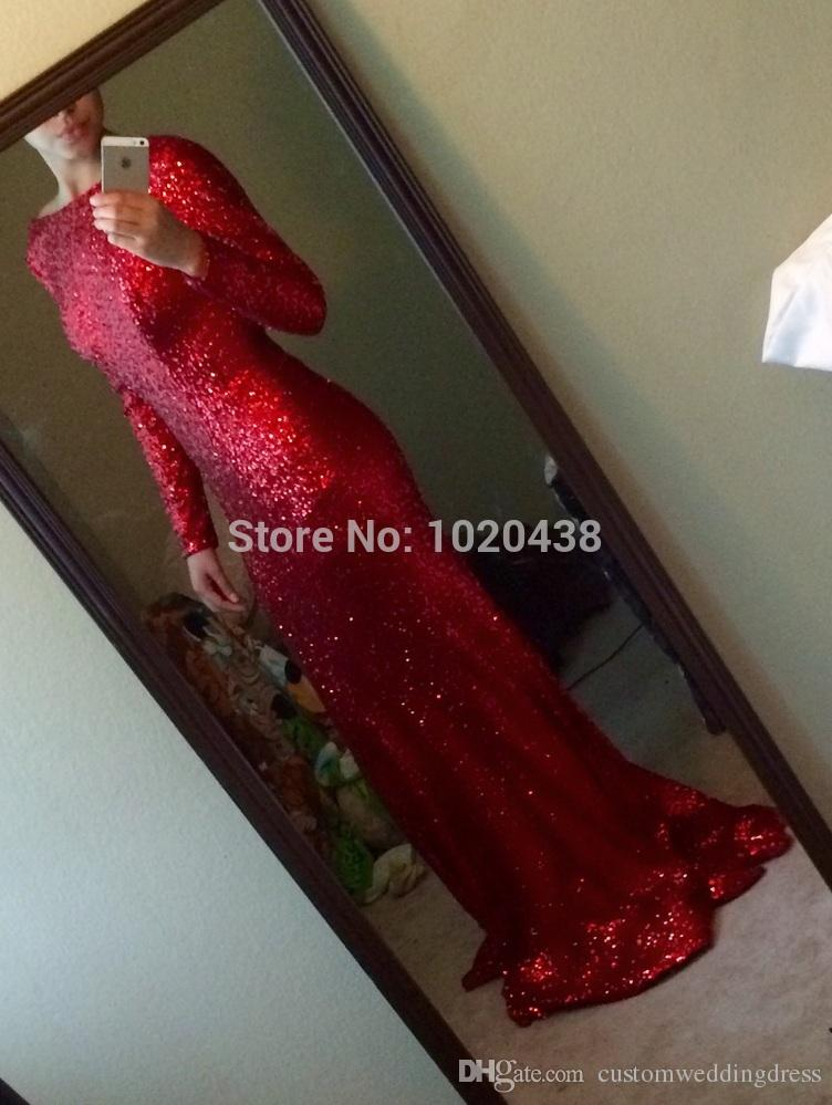 2018 New Fashion backless Sparkly High Neck Sequined Mermaid Red Prom Dresses Long Sleeves Sexy Long Formal Evening Gown