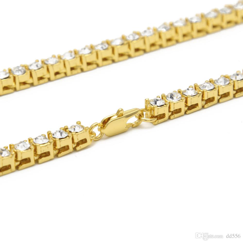 2017 Mens 18k Gold Iced Out 1 Row Tennis Chain HipHop Necklace Bling Steampunk Necklace Wholesale