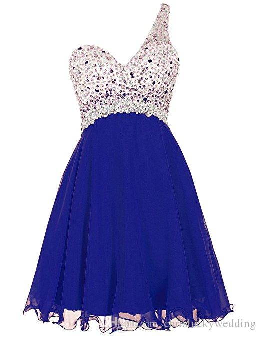 Short Homecoming Dresses 2017 One Shoulder Beading Prom Plus Size Dress  Evening Gown Special Occasion Dresses