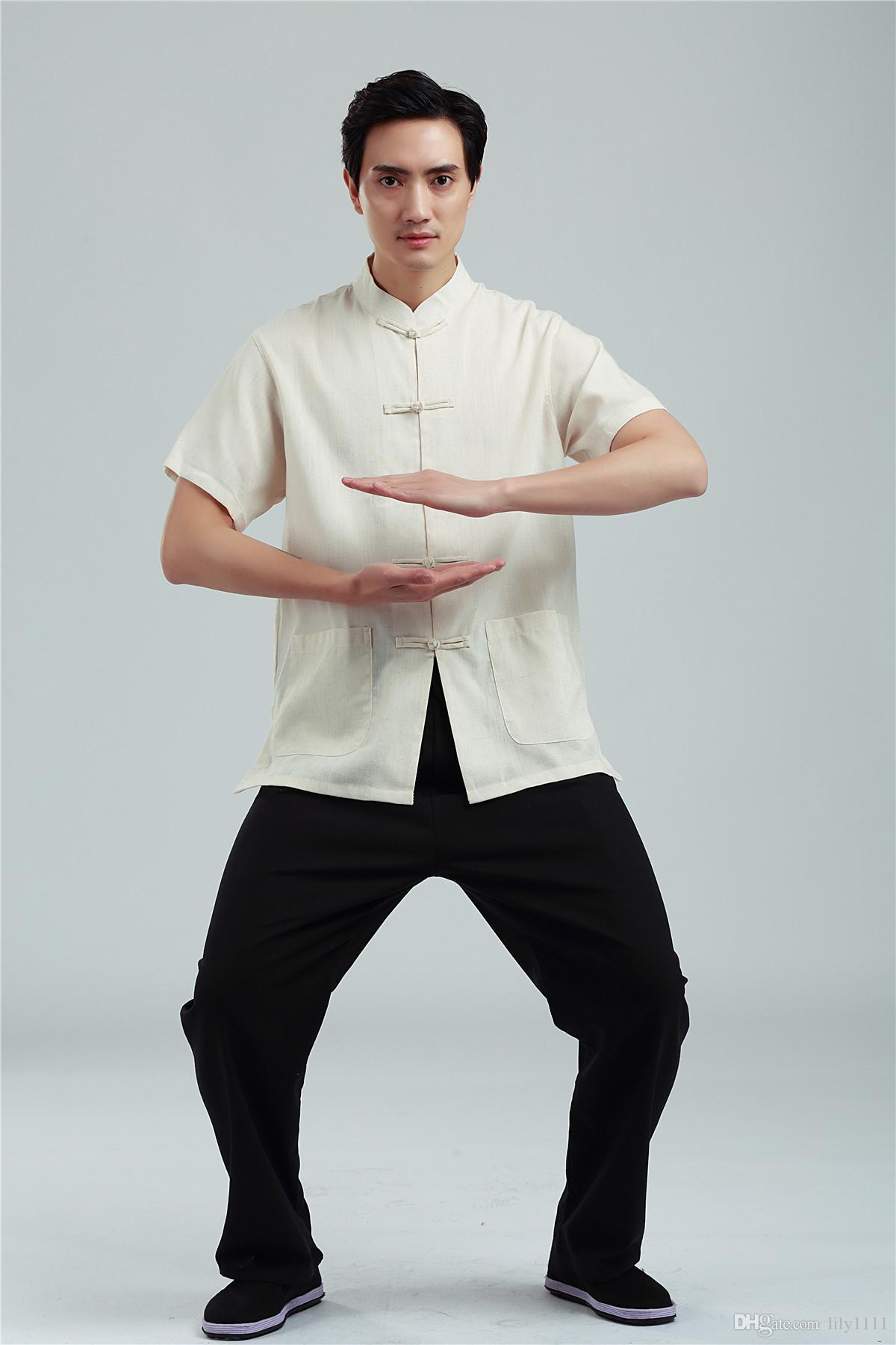 Шанхай история китайский Тан костюм рубашка комплект одежды белье топ + брюки летние мужские национальный костюм кунг-фу униформа