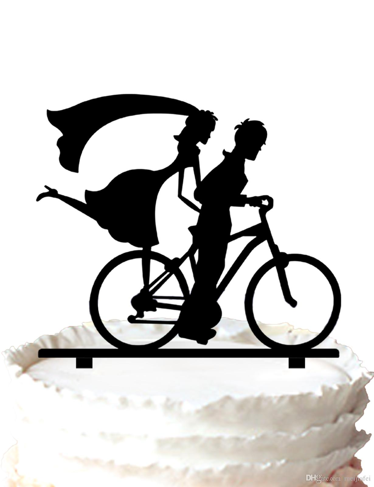 2018 Bicycle Wedding Cake Topper,Groom Riding Bicycle With Bride ...