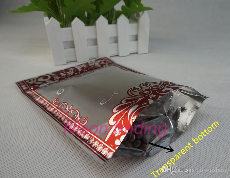 sacchetto a chiusura lampo 10x15cm / in piedi opaca trasparente di plastica con la stampa fiore d'argento, soia sacchetto di fagioli bordo rosso, cioccolato Doypack