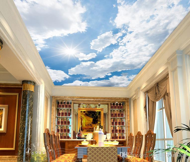 3d ceiling custom 3d Blue sky and white clouds radiant sky wallpaper for ceilings 3d wallpaper living room wallpaper ceiling modern