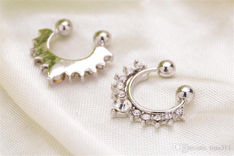 Nose Rings Non Piercing Hanger Clip nose nailed piercing studs Body Jewelry For Women Girl CC531