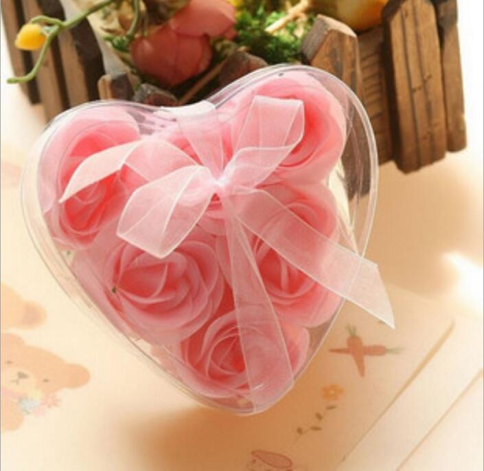 Fashion Christmas Soap Flower Heart Shape Handmade Rose Petals Rose Frower Paper Soap Mix Color=1box 9.5*9*4cm