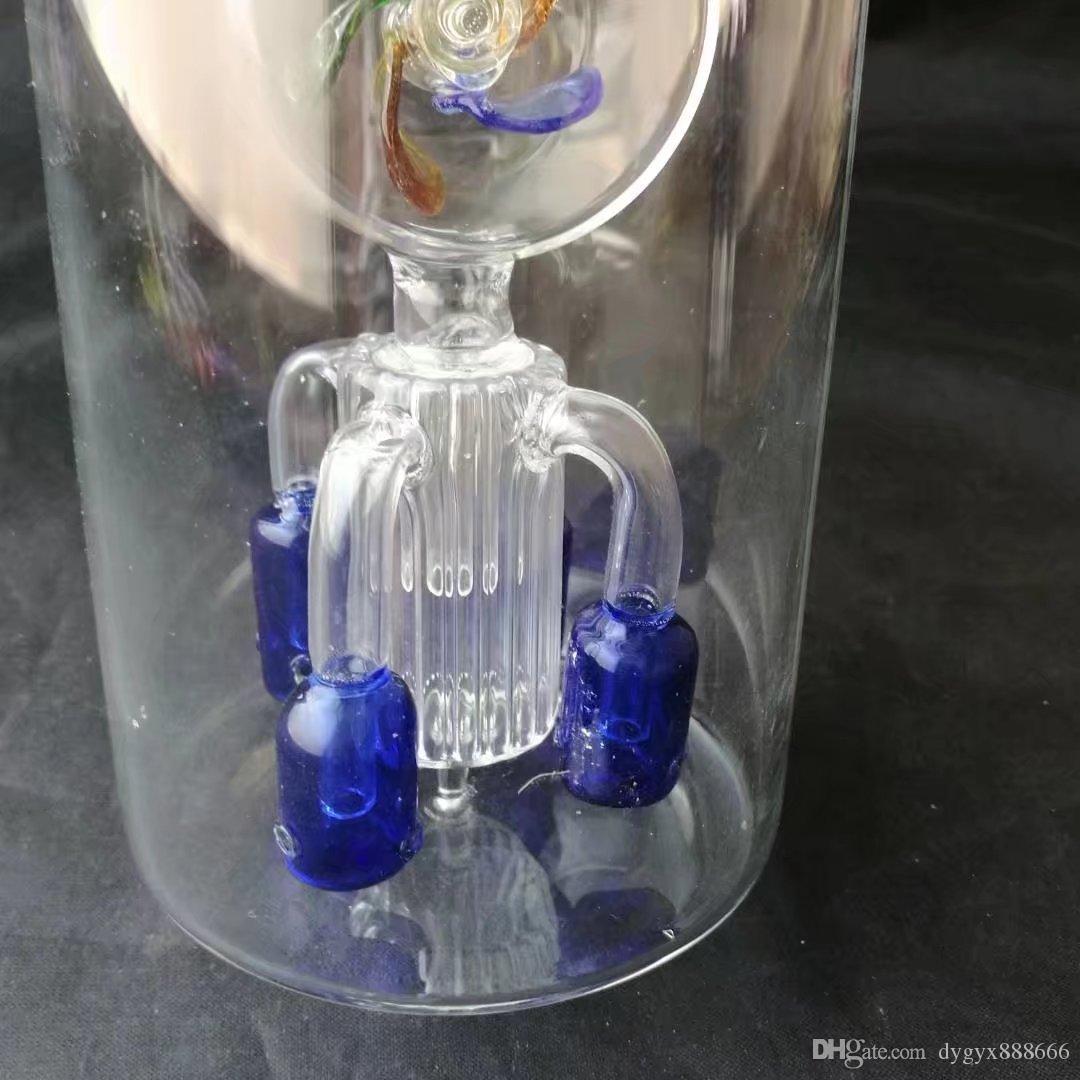 01 Большая круглая брюшная мельница с четырьмя концевыми фильтрами, Оптовые стеклянные бонги, стеклянная водопроводная труба, стеклянная масляная горелка, адаптер, чаша