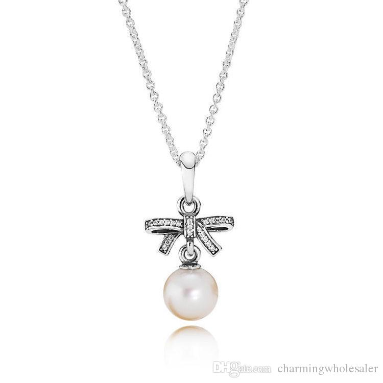 Pendant necklace with beads 925 silver sale fits pandora style charms delicate sentiments 390380P-70 H8