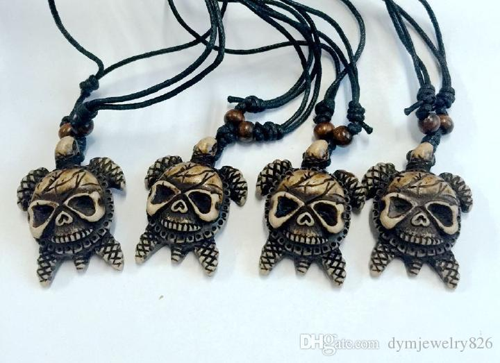 Faux Resin Skull Turtle Amulet Pendant Necklace